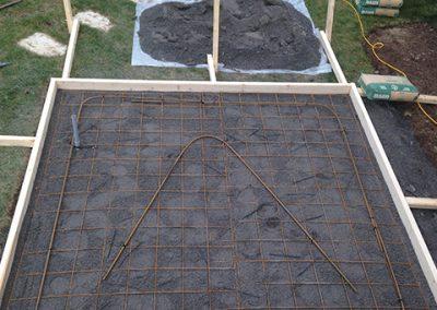 préparation d'un pation de béton